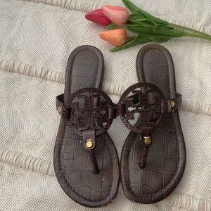Brown textured Tory Burch Miller Sandals